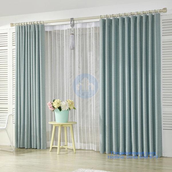 rèm vải phòng khách hai lớp cản sáng màu xanh